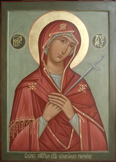Vasilkovskaya, a Russian icon associated with MG of the Seven Arrows/Softener of Evil Hearts/Simeon's Prophecy. Religious Icons, Religious Art, Roman Church, Our Lady Of Sorrows, Russian Icons, Blessed Mother Mary, Byzantine Art, Orthodox Icons, Sacred Art
