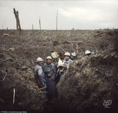 A French trench at Bois St Eloi in the Somme on October 28, 1916.In the background, German accessory defences are seen. More than a third of French soldiers (36 per cent) aged between 19 and 22 were killed during the First World War