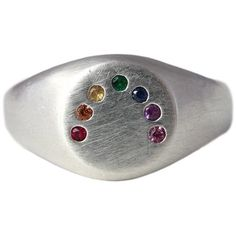 Rock Cakes Rainbow Ring Handmade Silver And Gems ($350) ❤ liked on Polyvore featuring jewelry, rings, gem jewelry, silver jewellery, rainbow jewelry, silver gemstone rings and silver gemstone jewelry