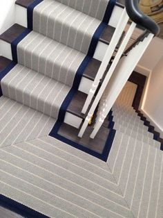 another stair runner idea currently inspired by http www rogeroates Staircase Makeover, Staircase Railings, Staircase Design, Stairways, Modern Staircase, Painted Staircases, Staircase Runner, Painted Stairs, Wood Stairs