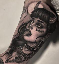 Witch Tattoo, Medusa Tattoo, Demon Tattoo, Dark Tattoo, Piercing Tattoo, Piercings, Satanic Tattoos, Creepy Tattoos, Badass Tattoos