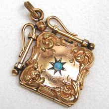 Victorian Gold Filled Double Photo Locket Fob