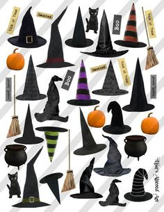 Witch Hats Collage Sheet Halloween Sheet No H12 Altered Art Collage Sheet | eBay