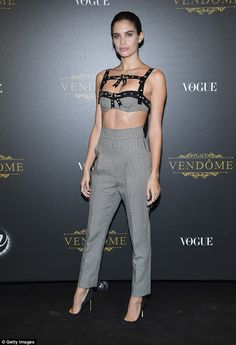 Sexy: Sara Sampaio also showed off her supermodel physique in a bondage inspired grey bralet with bow-tie detailing