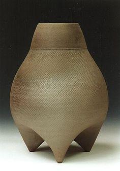 Ceramics by Jonathan Garratt at Studiopottery.co.uk - Chinese 3 leg bottle.