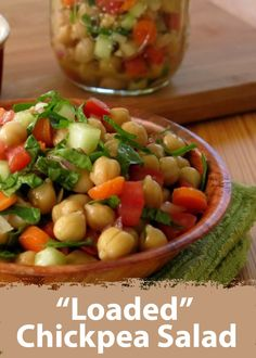"Make this awesome ""Loaded"" Chickpea Salad with the help of Bush's Garbanzo Beans for a refreshing side dish!"