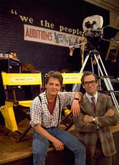 Michael J. Fox and Huey Lewis on the set of Back to the Future (1985)