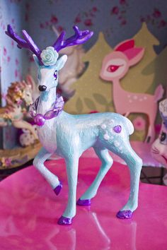 Pastel Pretty Reindeer - Teal with Pearly Purple Antlers - Handmade one of a kind kawaii Decor