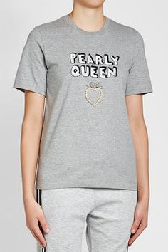 MARKUS LUPFER - Pearly Queen Embellished Cotton T-Shirt | STYLEBOP Grey Style, Markus Lupfer, Grey Fashion, Queen, Cotton, Mens Tops, T Shirt, Shopping, Clothing