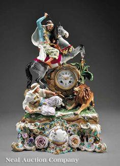 "Meissen Polychrome and Gilt-Decorated Porcelain ""Arabian"" Clock, 19th c."