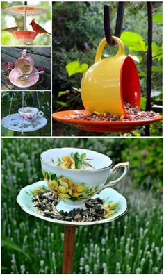 tea cup crafts You will love this Teacup Bird Feeders DIY and we have lots of inspiration that you w Homemade Bird Feeders, Diy Bird Feeder, Teacup Bird Feeders, Best Bird Feeders, Bird House Feeder, Easy Bird, Teacup Crafts, Bird Wallpaper, Australian Birds