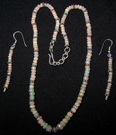 Insane Fire Natural Micro Faceted Ethiopian Opal Silver Necklace & Earrings AAA #MyJewelryAffair #MicroFacetedGraduatingBeads