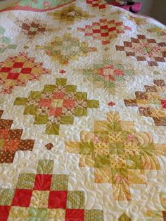 Fig Tree fabrics Fresh Cottons Great Granny Squares quilt, by Wendy Barker Paull - Nancy Troyer quilter.