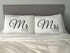 Personalised add your name MR & MRS RIGHT Pillow Case by artEVO
