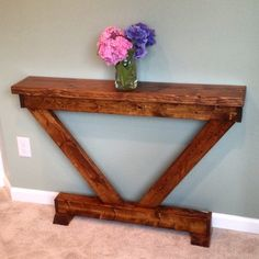 Rustic Modern Entryway / Sofa Table Rustic Modern Entryway / Sofa Table is great for a foyer, family room or any room in your home. Diy Furniture Projects, Repurposed Furniture, Pallet Furniture, Wood Projects, Western Furniture, Rustic Furniture, Living Room Furniture, Home Furniture, Antique Furniture