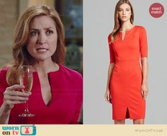 Maura's red split neck dress on Rizzoli and Isles. Outfit Details: http://wornontv.net/36466/ #RizzoliandIsles