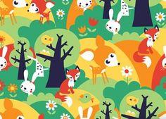 lé de papier peint intissé 'forêt estivale' (1x3m) BORA | shop pour enfants Le Petit Zèbre