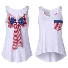 bc854acfb2 4th July patriotic clothing Reasoncool Women Flag Blouse New Arrival Casual T  Shirt Bowknot Ladies Tops