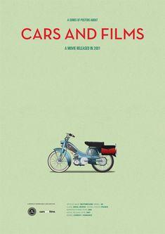 Poster of Amelie motorcycle. Illustration Jesús Prudencio