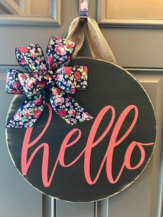 Ideas For Spring Door Decorations Wood Summer Wreath Front Door Signs, Front Door Decor, Wreaths For Front Door, Front Doors, Spring Door Wreaths, Summer Wreath, Wooden Door Hangers, Wooden Doors, Wooden Door Signs