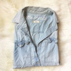 "Madewell Light Blue Chambray Button Down Shirt Classic staple piece every girl should own. Has been worn but has lots of life left.  25 1/2"" body length, 38"" chest circumference, 30"" sleeve length from center back neck. NO TRADES. Madewell Tops Button Down Shirts"