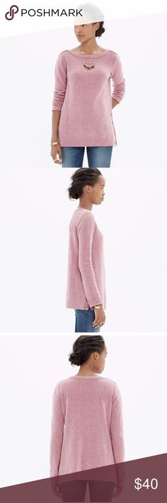 MADEWELL Pinewood Pullover Sweater Top Pink $80 MADEWELL Pinewood Pullover Sweater Top Pink Size XS  PRODUCT DETAILS A sweater designed to give your cold-weather wardrobe a serious lift. We're especially obsessed with the made-for-styling button-up sides.   True to size. Merino wool. Dry clean. Import. Madewell Sweaters