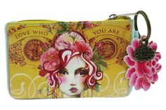 Vintage Victorian Lady w/ Pink Rose Art Design Oil Cloth Keychain Coin Purse #Papaya #CoinPurse