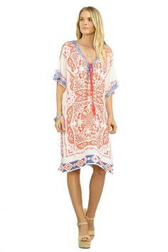 Del Mar Open Back Kaftan Dress - Ivory + Coral