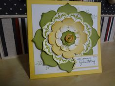 stampin up daydream medallion | Eine Geburtstagskarte in Safrangelb und Limone.