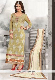 Designer Lace Work Green Straight Long Salwar Suit