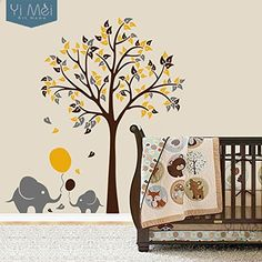 Elephant Balloon Tree Kid Baby Room Nursery Wall Decal Vinyl Sticker Wallpaper Mural Novelty Home Decoration 175x190cm Christmas (Brown+Yellow+Dark Grey), http://www.amazon.com/dp/B019GXJS7W/ref=cm_sw_r_pi_awdm_gqsqxb0GKR5B5