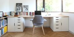 desk space - diy - too easy: VIKA Alex storage spaces as base, then owners choice of table tops. voila!