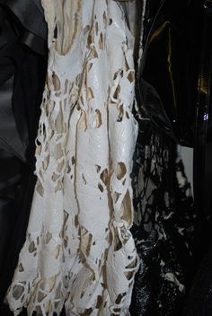 John Rocha AW14 backstage, fabric close-up #fashion #backstage #LFW