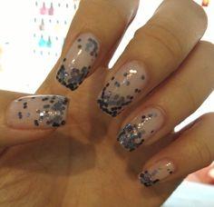 nude & blue sparkles. #nails Cute Nail Polish, Cute Nails, Blue Sparkles, Dress Code, Nail Art, Nude, Beauty, Ideas, Pretty Nails