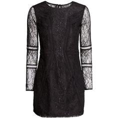 H&M Lace dress ($31) via Polyvore featuring dresses, h&m, black, hm, lace, black lace cocktail dress, black cocktail dresses, long sleeve black dress, short lace dress and short black dresses