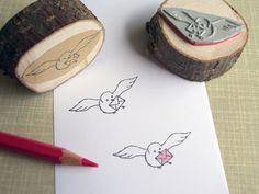 Stempel Vogel mit Brief von Rotkehlchen auf DaWanda.com