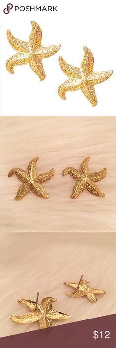 Gold Vintage Starfish Earrings Vintage Gold Starfish Post Earrings. Excellent condition. Vintage Jewelry Earrings