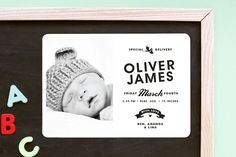 Vintage Label Birth Announcement Magnets by Alethea and Ruth at minted.com