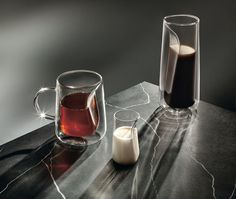 Taking inspiration from the Japanese tea ceremony, Jenkins&Uhnger chose to focus on the ritual of decanting tea or coffee into a cup. Its transparent glass vessel, manufactured by Ichendorf Milano, incorporates negative space between an inner and outer layer, placing emphasis on the pouring itself and keeping the exterior cool to the touch.