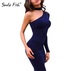 Red Black White 2017 Autumn Dresses One Shoulder Halter Long Sleeve Women  Pencil Dress Sexy Club Bodycon Party Dresses dbb3bc14459a