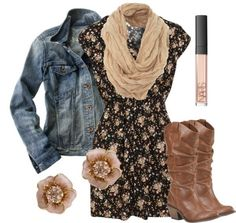 Floral print summer dress with medium washed denim jacket and slouchy brown boots and blush pink accents. Description from pinterest.com. I searched for this on bing.com/images