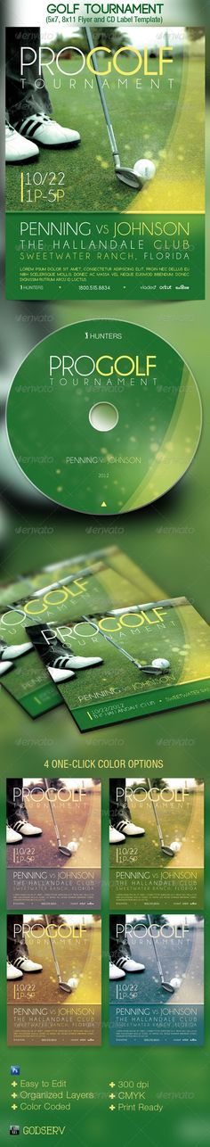 Golf Tournament Event Flyer and CD Template - $6.00