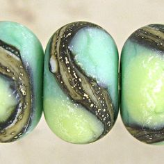 Green  Etched Lampwork Glass Bead Set of 6 with Organic Webbed Silvered Ivory Small 11x7mm Little Sirona Velvet. $15.10, via Etsy.