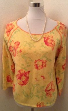 Coldwater Creek Womens Yellow Floral Sweater Size Large #ColdwaterCreek #ScoopNeck