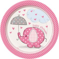 Make your baby shower as sweet as can be by serving out tasty treats and desserts! The Umbrellaphants Pink Dessert Plates feature an adorable silhouette of a baby pink elephant being immersed with love. Pink hearts float down on the theme's elephant who is holding a polka-dot umbrella. Surrounding the elephant image atop the 7 inch plate is an elegant pink border printed with a polka-dot design. Spotlight your styling skills by integrating other Umbrellaphants Girl items! This heavy duty ...
