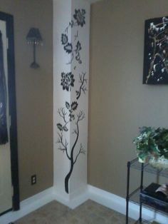 White and black paint and a stencil of your choice Simple Wall Paintings, Creative Wall Painting, Wall Painting Decor, Mural Wall Art, Creative Walls, Diy Wall Art, Front Wall Design, Pillar Design, Diy Home Decor