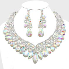 AB Crystal Rhinestone Necklace and Earrings | 278287