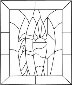 Surfboard pattern for stained glass by StainedGlassDanaLin on Etsy, $10.00