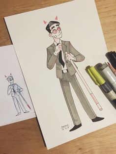 """Inktober <a class=""""pintag searchlink"""" data-query=""""%2312"""" data-type=""""hashtag"""" href=""""/search/?q=%2312&rs=hashtag"""" rel=""""nofollow"""" title=""""#12 search Pinterest"""">#12</a>–an adorable lawyer~ I also included my thumbnail because I always seem to like my little thumbnails better than the final product XD"""