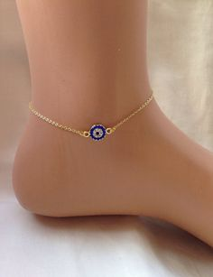 Gold Plated Evil Eye Ankle Bracelet ,Bridesmaid Gift,Gold Anklet,Summer…